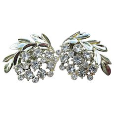 Signed CHAREL Vintage 1960's Rhinestone Silver Tone Leaf Clip Earrings