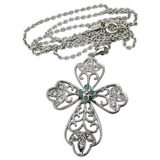 Pretty Sterling Silver Filigree White Sapphire & Emerald Lacy CROSS Pendant Vintage Necklace
