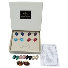 KJL Kenneth Jay Lane Vintage Interchangeable Earrings Set, Mint In Box!