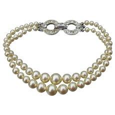 1920s Art Deco 2 Strand Faux Pearl Bracelet with Rhinestone Clasp