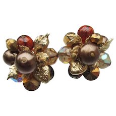 Signed VENDOME Vintage Brown Faux Pearl & Crystal Gold Tone LEAF Earrings
