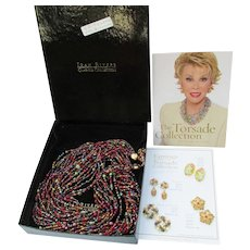 Signed JOAN RIVERS Vintage 12 Strand Long Torsade Necklace, Jewel Tones, New In Box!