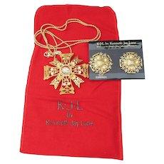 Kenneth Jay Lane KJL Signed Vintage Rhinestone Maltese Cross Necklace & Earrings Set, MINT In Pouch
