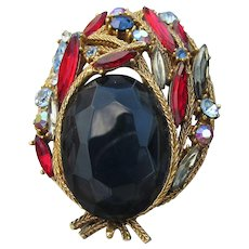 Signed ART Big Vintage Sapphire Blue & Ruby Red Glass Victorian Revival Pin