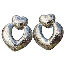 Pretty Engraved HEART Door Knocker Vintage Sterling Silver Pierced Earrings