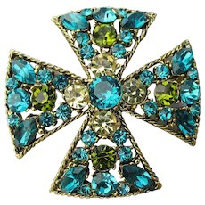 Unsigned WEISS Vintage Turquoise Blue Rhinestone Maltese Cross Pin or Pendant