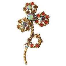 Signed AUSTRIA AB Amber Rhinestone Vintage Long Stemmed Lacy Flower Pin