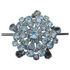 Gorgeous Unsigned WEISS Big Blue Rhinestone Snowflake Pin