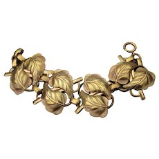 Antique Art Nouveau Stamped Brass Wide Leaf Bracelet