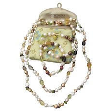 "Signed HONORA Cultured Freshwater Pearl, Citrine, Peridot 39"" Long Necklace & 2 Bracelets Set, MINT IN Pouch!"