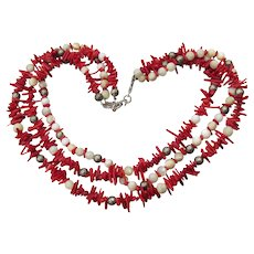 Triple Strand Vintage Red Branch Coral, Mother-of-Pearl, & Sterling Silver Beaded Necklace