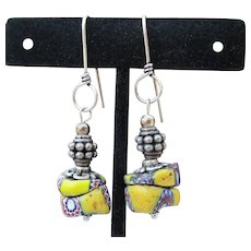 Funky Artisan Dangle Sterling Silver & Antique African Trade Bead Earrings