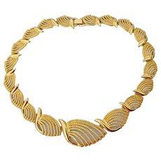 Signed NAPIER Vintage Modern Leaf Link Necklace & Earrings Set