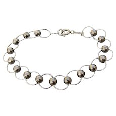 Signed Vintage Italian Sterling Silver Circle Link & Bead Bracelet