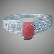 Pretty Sterling Silver Vintage Oval Coral & CZ Ring, Size 9