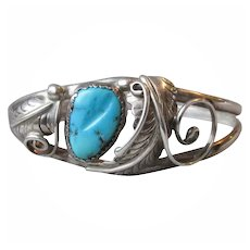 Signed John Chavez Navajo Native American Sterling Silver Turquoise Vintage Cuff Bracelet