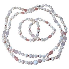 "Honora Cultured Freshwater Pearl & Rose Quartz 40"" Necklace + 2 Bracelets Set, MINT IN Pouch!"
