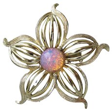 Pretty Faux Opal Gold Tone 1960's Vintage Flower Pin