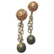 Les BERNARD Vintage Faux AMBER & Chain Dangle Pierced Earrings