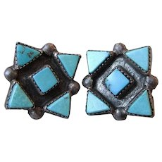 Early Zuni Sterling Silver & Petit Point Turquoise Native American Earrings