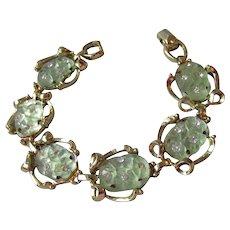 Faux Jade Molded Glass & Rhinestone 1960's Vintage Bracelet