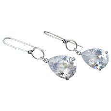 Tear Drop Rock Crystal Quartz Sterling Silver Dangle Artisan Earrings
