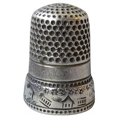 """Antique Sterling Silver Scenic Thimble with Houses, Fences, Stars, Engraved """"Kittie"""""""