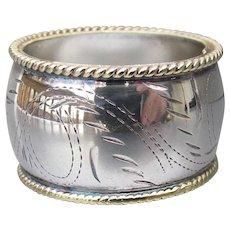 Wide Sterling Silver & Vermeil Engraved Vintage Band Ring, Size 9