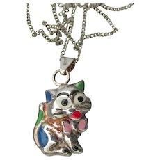 Cute Italian Sterling Silver Enamel Puffy Cartoon Kitty Cat Pendant Necklace