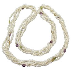 Freshwater Cultured Pearl, Gemstone & 14k Gold Bead Multi-Strand LONG Vintage Torsade Necklace, Mint!