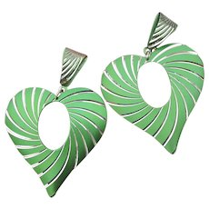 Big 1980s Vintage Metallic Green Aluminum HEART Dangle Pierced Earrings