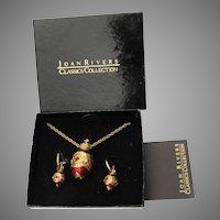 Joan RIVERs Red Russian Enamel Faberge Egg Replica Pendant Necklace & Earrings Set, MIB