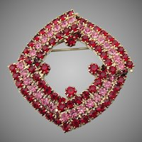 Red & Pink Rhinestone Squared Circle Pin, Vintage Brooch
