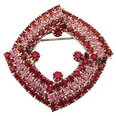 Red & Pink Rhinestone Squared Circle Pin, Vintage Brooch