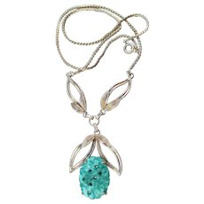 Vintage VAN DELL Gold-Filled Molded Glass Faux Jade Necklace