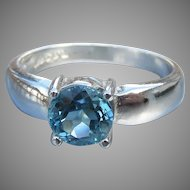 Vintage Sterling Silver Blue Topaz Solitaire Ring, Size 6