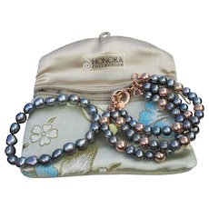 Honora Cultured Freshwater Black Pearl & Bronze Bead 2 Bracelets Set, MINT IN Pouch!