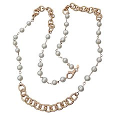 "Honora Pearl Bronze Ring Link Stations Cultured Freshwater Ring Pearl 36"" Necklace, MINT In Pouch"