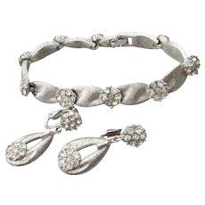 Signed TRIFARI Vintage Brushed Silver Tone Rhinestone Flower Bracelet & Earrings Set