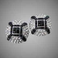 designer Signed JARIN Swarovski Crystal Vintage Clip Button Earrings
