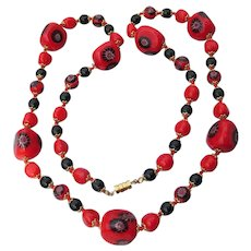 "Spectacular Vintage 32"" Long BIG Red Millefiori Venetian Art Glass Bead Necklace"