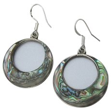 Vintage Taxco Mexico Sterling Silver & Abalone Shell Hoop Dangle Earrings
