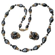 VENDOME 1960's Black Aurora Borealis Crystal Bead Necklace & Earrings Set