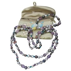 Honora Signed Peacock Cultured Freshwater Pearl, Amethyst Nugget Necklace & Bracelet Set, MIB