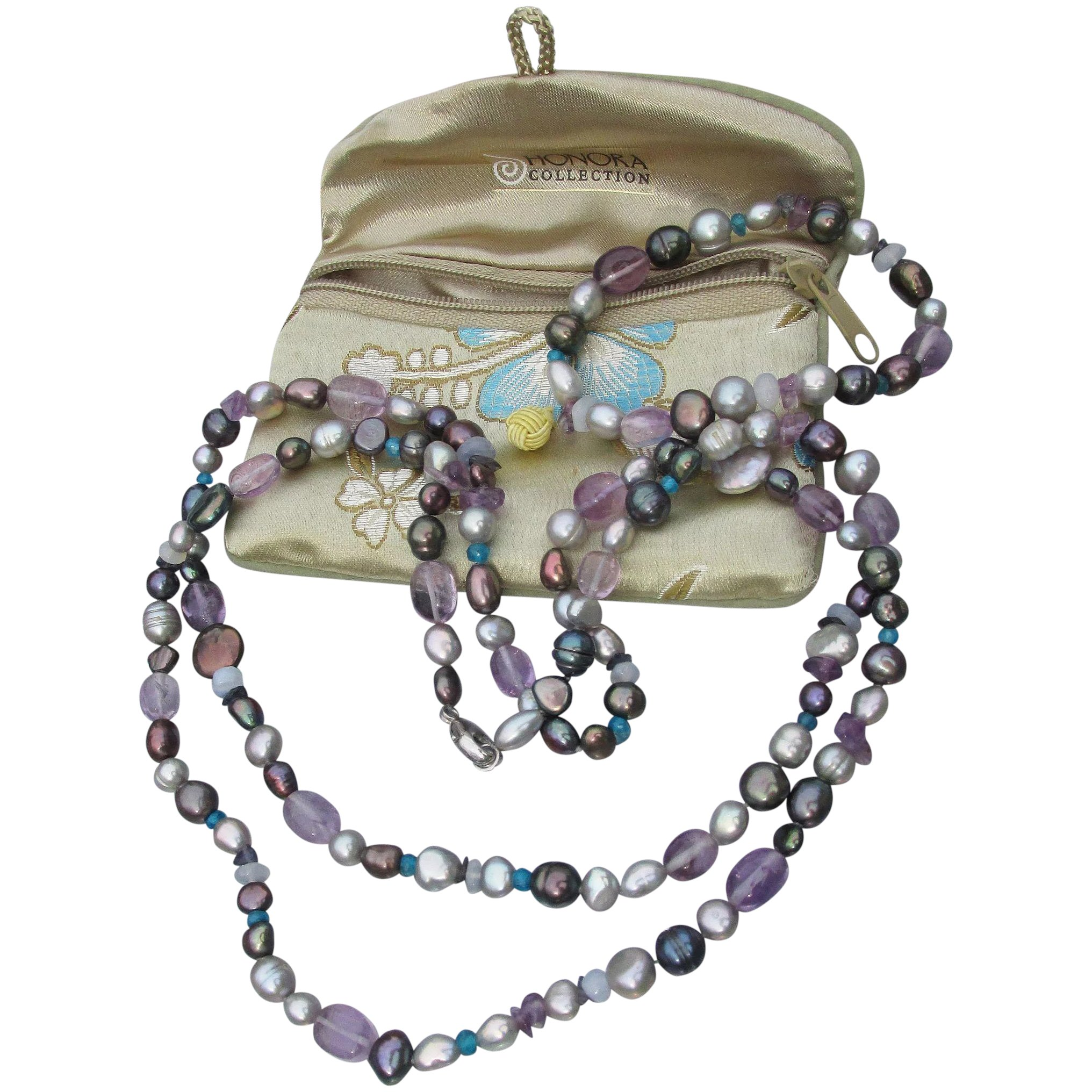 Honora Big Peacock Cultured Freshwater Pearl w Amethyst Nuggets LONG Necklace /& Bracelet Set Mint In Pouch