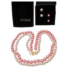 Joan RIVERS 2 Pink Glass Faux Pearl Necklaces & Earrings Set, Mint In Box