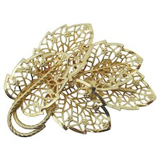 Signed JUDY LEE Big Vintage Gold Tone Filigree Leaf Pin