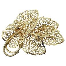 Signed JUDY LEE Big Vintage Gold Tone Filigree Leaf Pin
