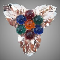 1940's Vintage Jewel Tone Cabochon Rose Gold Tone LEAF Dress Clip Pin