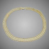 1980's Vintage MONET Gold Tone Vintage Wide Chain Link Necklace